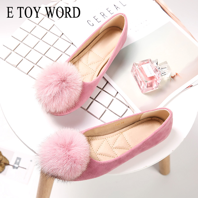 E TOY WORD Autumn Cow Suede Shoes Women Flats Faux Fur Ball Fur Slip on Flat Shoes Round Toe Shoes Woman Loafers Zapatos Mujer