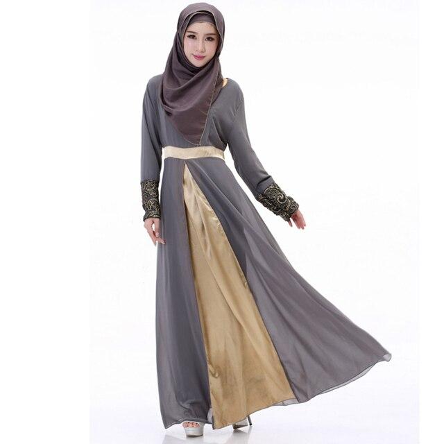 BooLawDee женщины шифон мусульманин абая с пояса О шеи воротник регулярный полный рукав свободный размер черный фиолетовый синий серый T22001