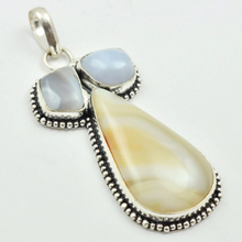 Botswana Agates & Blue Lace  Pendant Silver Overlay over Copper , 65 mm, P3156