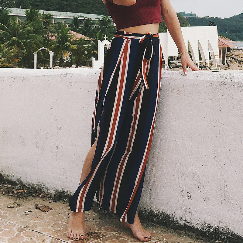 Beach High Waist Elastic Trousers Women Summer Chic Streetwear Sash Casual   Pants     Capris   Female High Split Stripe Wide Leg   Pants