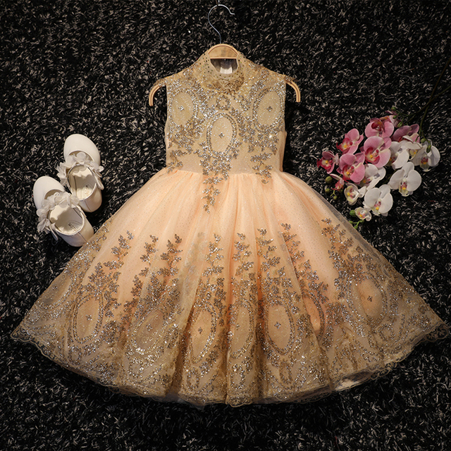 af74018b42a Princess formal dresses gold sequin dress paillettes clothes little girl  party ball gown wedding prom toddler children clothing