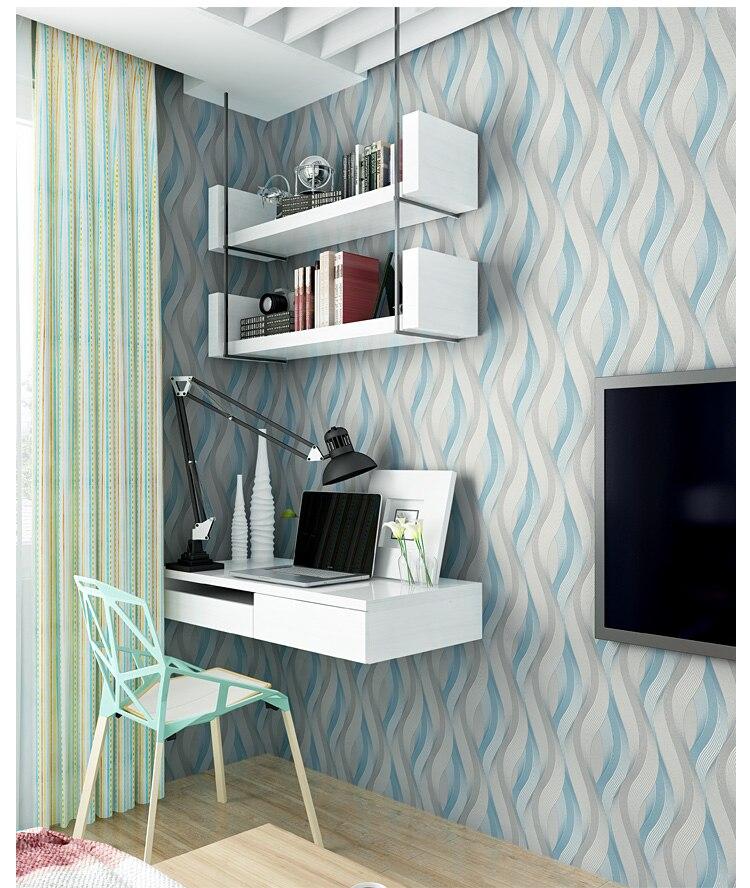 Mode PVC café blanc argent rayé papier peint 3D moderne salon imperméable vinyle texturé rayure papier peint rouleaux - 3