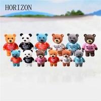 New 6pcs Big Bear Mix Color PVC Crafts Decorations Mini Animal Decor Cartoon Dolls Landscape Ornament