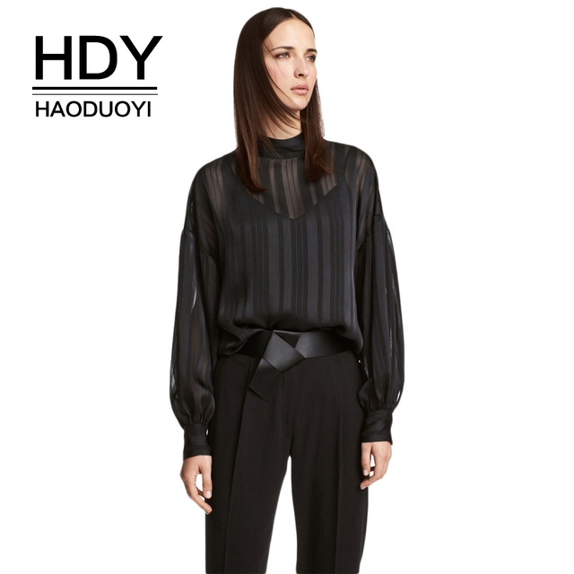 3b349e4c50 HDY Haoduoyi Brand Women Black Sexy Sheer Shirts Stand Collar Lantern Sleeve  Hollow Out Blouses Female