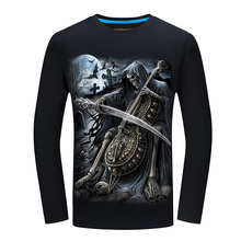 New Autumn Style Skull Print T-shirt Men 3D shirt Funny tshirts long Sleeve Casual shirt Plus Size Tops Male Tee Brand Design