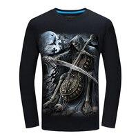 New Autumn Style Skull Print T Shirt Men 3D Shirt Funny Tshirts Long Sleeve Casual Shirt