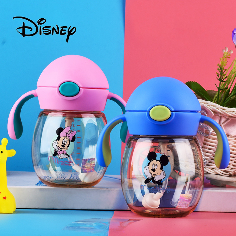 Disney 240ML Baby Cups Cute Minnie Mickey Mouse Child Straw Handle Shatter-resistant Children Learn To Drink Cup Birthday Gifts