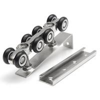 MTGATHER 1 Pair Set Cold Rolled Steel Sliding Wooden Door Closet Hardware Kit 8 Wheels Hangers