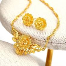 MxGxFam Wedding Jewelry Flower Necklace and Earring set For Bridal 24 k Pure Gold Color High Quality AAA+(China)