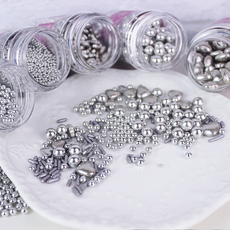 Cake Baking Decorated Silver Beads Sugar