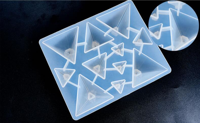 Transparent 1=11pcs Pyramid Cones Shaped Silicone Mold UV Resin Epoxy Tools Different Sizes Mold Epoxy Resin Molds For Jewelry