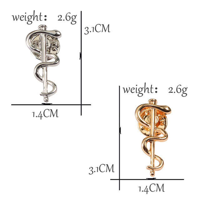 Charm WHO Metal Badge Gold Silver Snake Brooches For Women