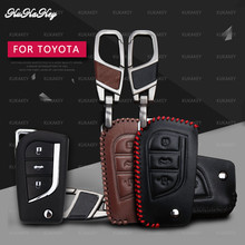 KUKAKEY Leather Car Key Case Cover For Toyota Hilux Corolla avensis Prado Fortuner RAV4 CHR Shell Protection Styling