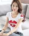 Free Shipping Summer New Arrival Short Sleeve Lip Printed Round Collar Korean Cotton T-shirt White