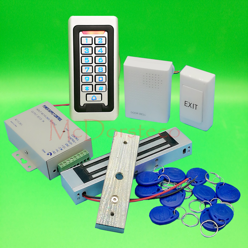 Metal IP68 Waterproof Full 125khz Rfid Door Lock control system Kit 180kg 350lbs Electric Magnetic lock+Power supply+exit button x6 rfid door entry system 180kg magnetic lock and u bracket for glass door