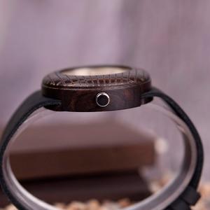 Image 4 - בובו ציפור עץ קוורץ שעון גברים נשים שעונים רצועת עור שעוני יד מתנות עץ תיבת W iQ17 זרוק חינם