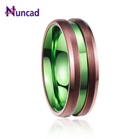 2018 classic men ring wedding brand ring electroplated brown green middle groove tungsten steel ring anel masculino T103R