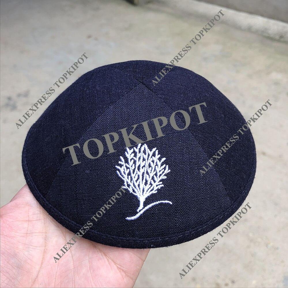 バーと Mitsva 海軍リネン kipa 白刺繍ロゴ  グループ上の ノベルティ & 特殊用途 からの イスラム 服 の中 1