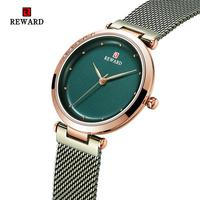 REWARD 2019 New Fashion Ultra thin Fine MeshSteel Belt Watch Waterproof Ladies Watch Women Quartz Watch