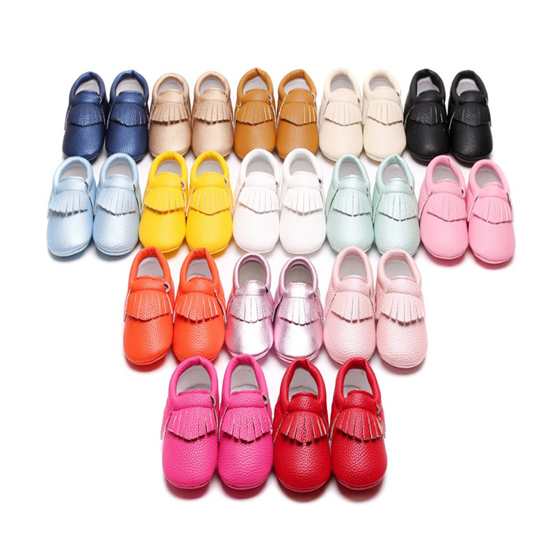 New Baby Moccasins 30 Style 0-24 M boys girls Toddler Kids Fringe Tassel bow PU Leather Shoes Crib Shoes infant First Walkers