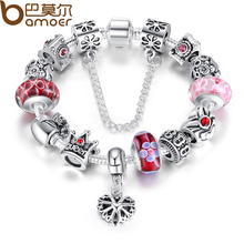 Queen Jewelry Silver Charms Bracelet & Bangles With Queen Crown Beads Bracelet for Women ANNIVERSARY SALE 2018 PA1823
