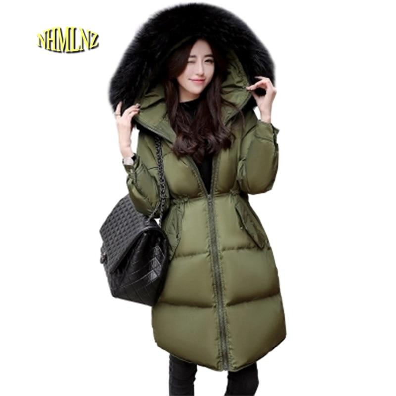 2017 Winter Fashion Comfortable Warm Hooded Women cotton Jacket New Slim Thick Medium long Fur collar High quality Coat OK49 eral 2015 new fashion high quality women s soft hooded slim medium long down jacket afa6016