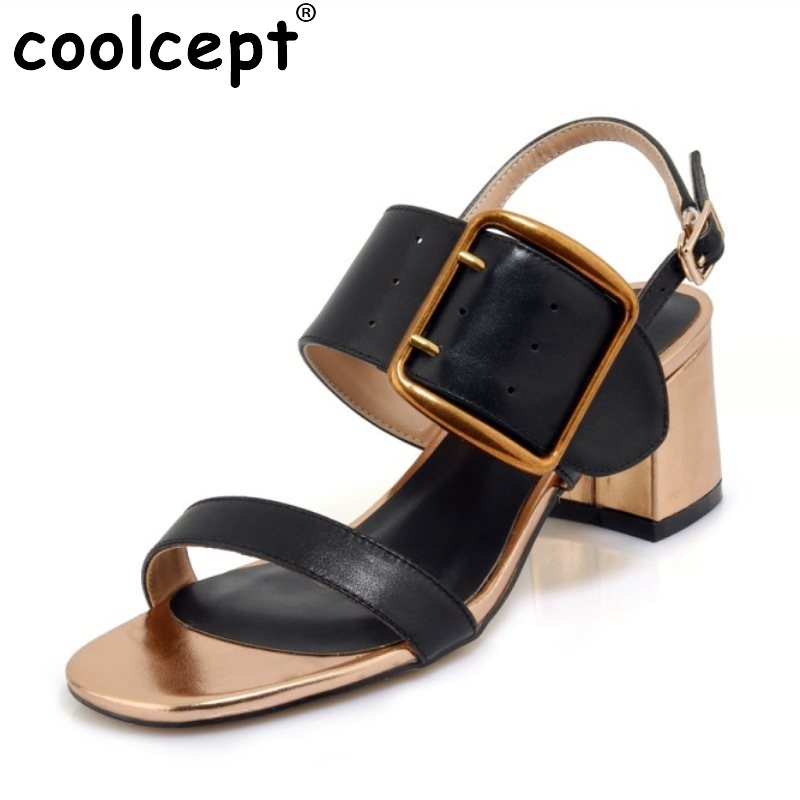 Coolcept Women Mature Genuine Leather Ankle Strap High Heel Sandals Women Metal Open Toe Heels Summer Women Shoes Size 34-39 ribetrini women hot sale cow leather low heel wedges summer casual shoes woman ankle strap open toe platform sandals size 34 39