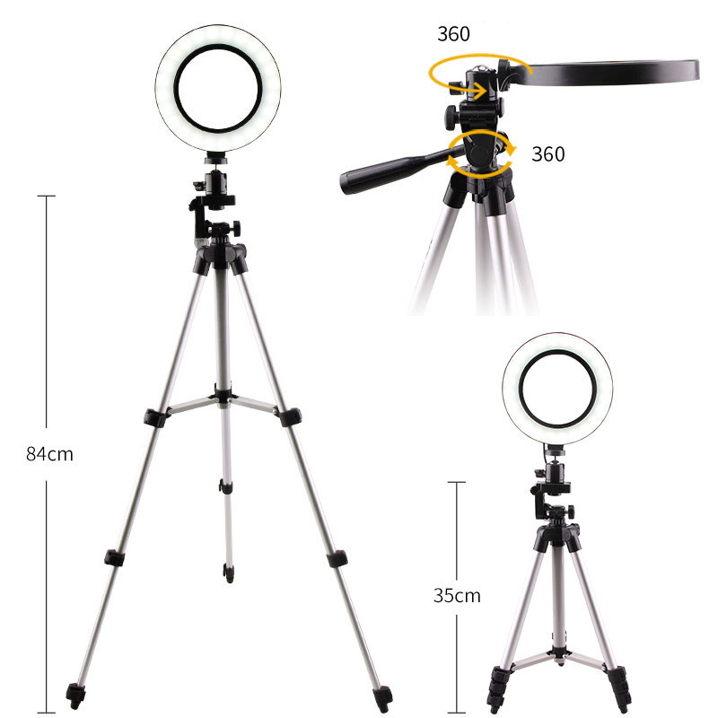 cheapest Dimmable 5500K LED Ring Light Kit with Stand for Makeup Camera Selfie 6inch for phone Supplementary Lighting Selfie Flashes