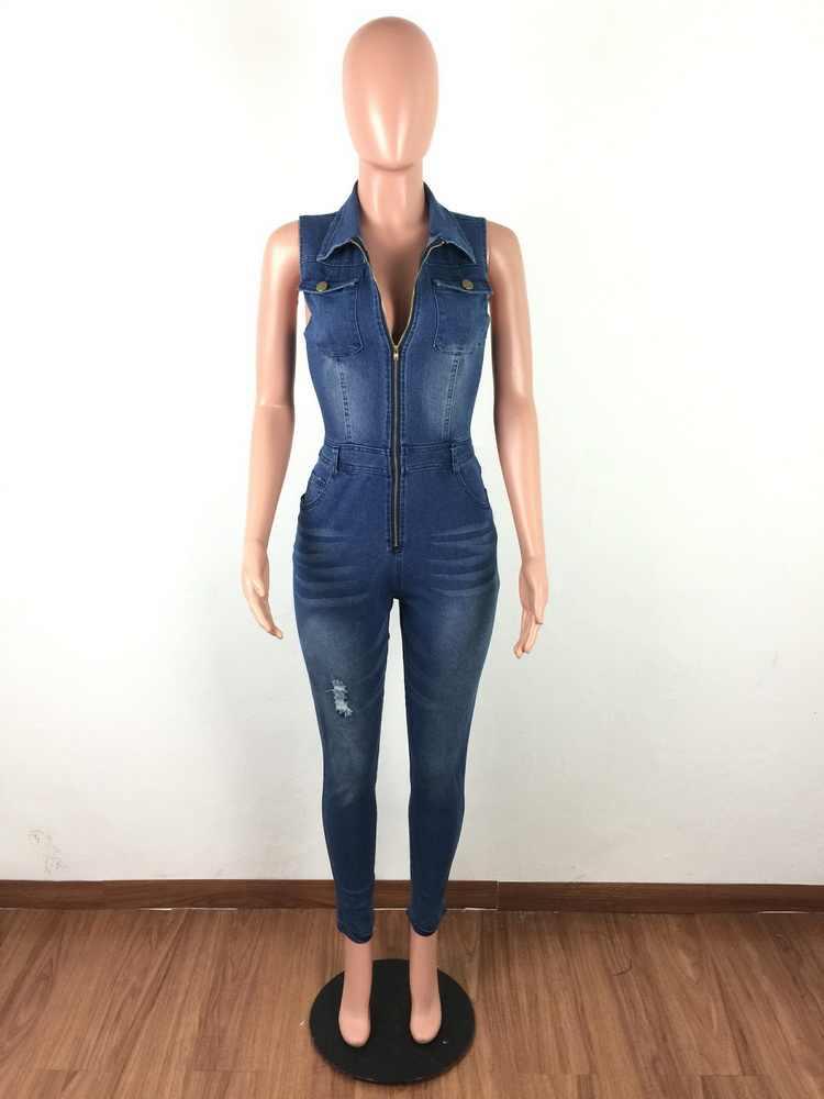 JIZHENGHOUSE женский Облегающий комбинезон джинсовые комбинезоны длинные брюки дамы сексуальные джинсы длинные сексуальные без рукавов синий тонкий стиль комбинезон