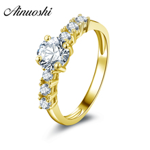 AINUOSHI 10k Solid Yellow Gold Lovers Proposal Rings Classic 6mm Simulated Diamond Jewelry Bagues 0.8 ct Round Cut Wedding Rings