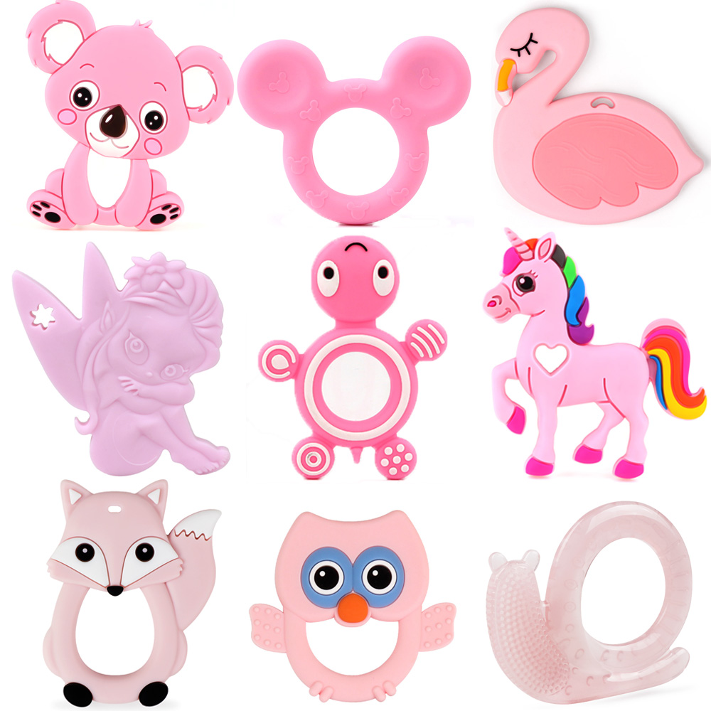 TYRY.HU 1pc Food Grade Silicone Teether Koala Fox Turtle Baby Teething Toys Rodent Baby Chew For Mother DIY Pacifier Chain Tools