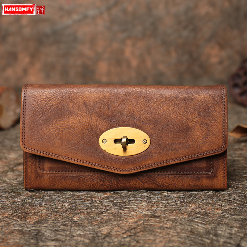 2018 new simple Women clutch bag genuine leather long wallet handmade retro casual female card holder