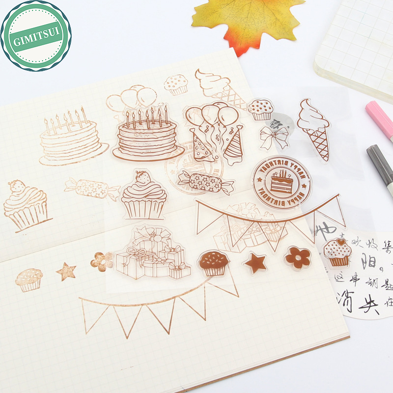 Birthday Party Banner Clear Silicone Stamp Seal Sheet Card Making Scrapbooking Diary DIY Photo Album Paper Craft Decor Journal clothes rack and telephone set for clear stamp designs scrapbookin photo album paper card silicone stamp craft rm 246