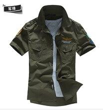 2017 Fashion Airforce Uniform Short Sleeve Cotton Shirts Men's Patch Plane Pilot Aeronautica Militare Army Soldier Shirt S-4XL