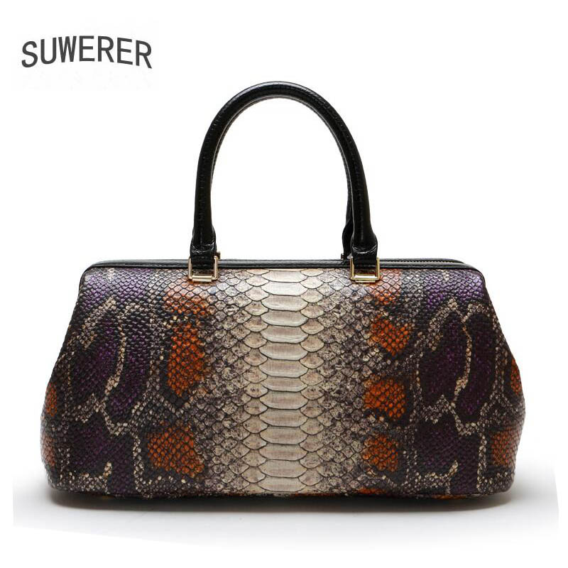 SUWERER 2018 new genuine leather women bags fashion luxury Serpentine women bags designer bag handbags women famous brands