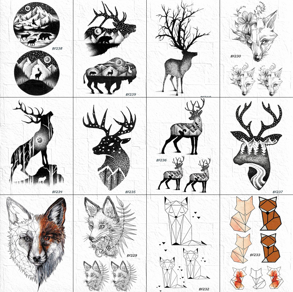 VANKIRS Women Black Body Arm Art Tattoos Temporary Fake Stickers Moose Deer Neck Horn Tattoos Waterproof 3D Men Hill Tatoo Paper