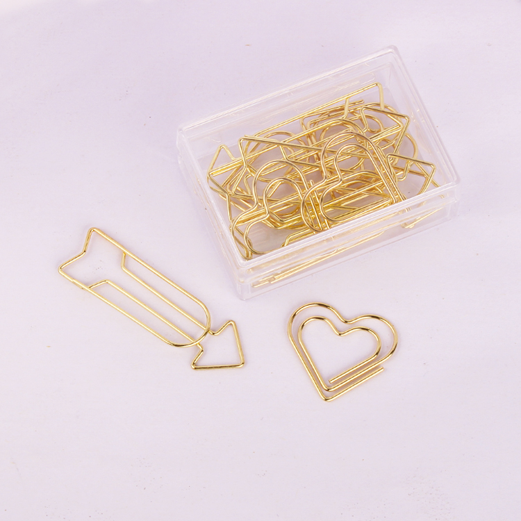 Gold Arrows Love Paperclip Valentine's Day Shape Paper Clip Special Shaped Paperclips Customized Paper Clips Gold Paper Clips