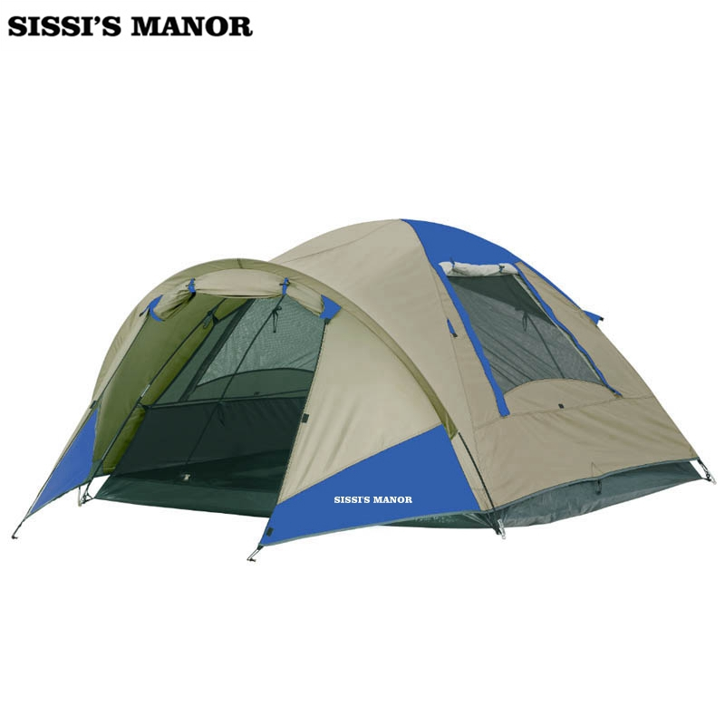 3V 3-4 persons 1hall 1room high quality family camping tent waterproof blue/beige outdoor tent with hall ams1117 3 3 3 3v sot223