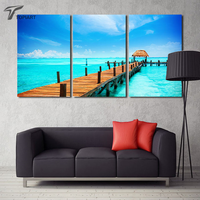 tropical seascape wall art painting canvas print wood pier in blue sea 3 panel ocean large