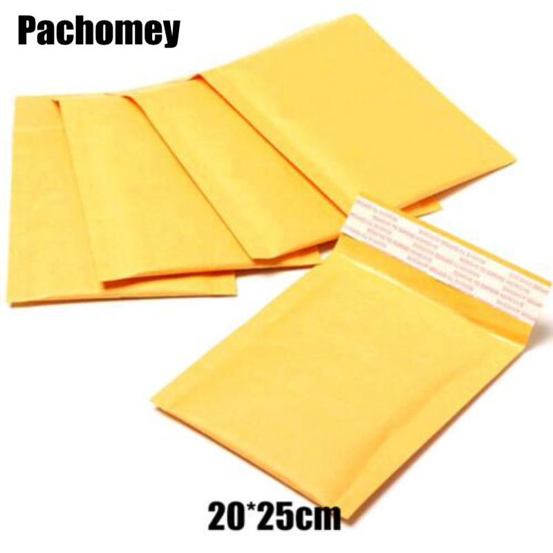 25 20cm 100pcs lot Yellow kraft Bubble Envelope Mailing Bags Shockproof Anti Pressure Packaging Courier Bags