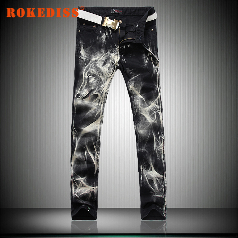 Spring summer mens jeans New Men s clothing printing Elasticity Slim straight Flower pants Nightclub fake