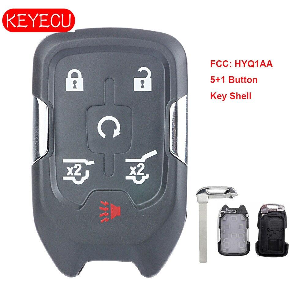 Keyecu Remote Smart Key Fob Case 6 Button For Chevrolet Suburban Tahoe FCC: HYQ1AA