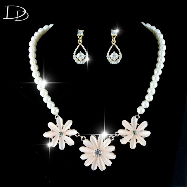 lovely flowers elegant wedding jewelry sets AAA crystal necklace 585