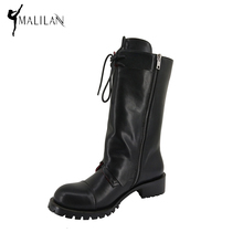 MALINAN Brand Fashion Handmade Riding Boots Soft Leather Gothic Boots Long Motorcycle Chunky Low Heel Womens Boots Winter 2016