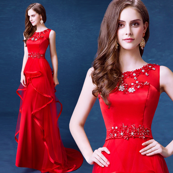 hot sexy long a-line crystal beading 2018 new design ruffles appliques vestido de festa longo robe de soiree   bridesmaid     dresses
