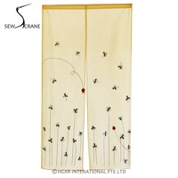 SewCrane Embroidery Design With Flying Ladybug Home Restaurant Door Curtain Japanese Noren Doorway Room Divider