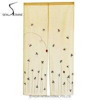 SewCrane Embroidery Design With Flying Ladybug Home Restaurant Door Curtain Japanese Noren Doorway Room Divider