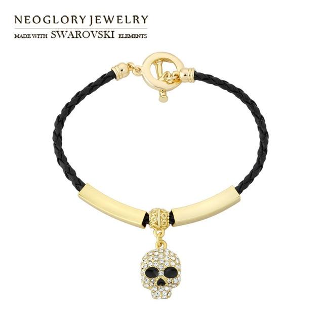 Neoglory Austria Rhinestone   Enamel Charm Bangle Skeleton Design Light  Yellow Gold Color Bracelet Unisex Vintage Jewelry Gift 1f180b6bbc52