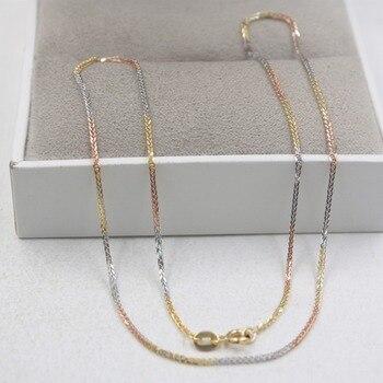 fdf584f9220b Real 18 K amarillo Real 18 K Multi-tono oro collar elegante de trigo de  cadena de enlace 17