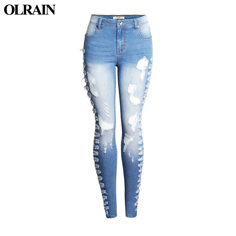 Olrain New Fashion Cotton Jeans Women Slim High Waist Hole Ripped Denim Spring Casual Skinny Stretch Pencil Pants Jeans
